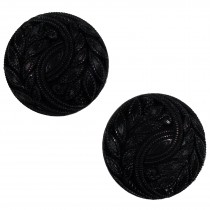 Vintage Style Plant Leaf Design Buttons 28mm Black Pack of 2