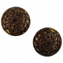 Vintage Style Plant Leaf Design Buttons 28mm Gold Pack of 2