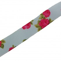 Vintage Style Rose Print Floral Grosgrain Ribbon 16mm wide Blue 2 metre length