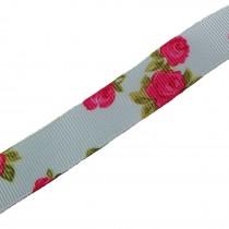 Vintage Style Rose Print Floral Grosgrain Ribbon 25mm wide Blue 1 metre length