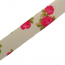 Vintage Style Rose Print Floral Grosgrain Ribbon 16mm wide Cream 2 metre length