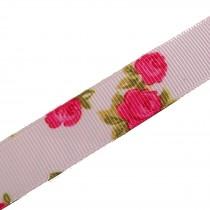 Vintage Style Rose Print Floral Grosgrain Ribbon 25mm wide Pink 3 metre length