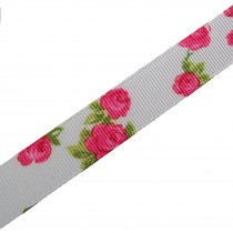 Vintage Style Rose Print Floral Grosgrain Ribbon 25mm wide White 1 metre length