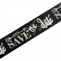 Wedding Ribbon 25mm wide Chalkboard Save the Date 3 metres length