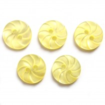 Whirl Swirl Round Buttons 13mm Yellow Pack of 5
