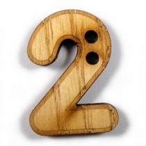 Wooden Number Buttons 2cm to 3cm 2 Pack of 1