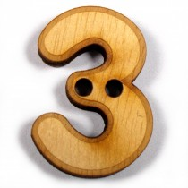 Wooden Number Buttons 2cm to 3cm 3 Pack of 1