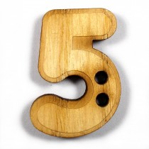 Wooden Number Buttons 2cm to 3cm 5 Pack of 1
