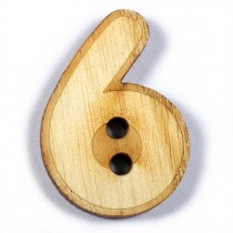 Wooden Number Buttons 2cm to 3cm 6 Pack of 1