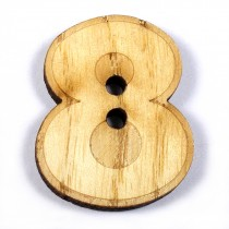 Wooden Number Buttons 2cm to 3cm 8 Pack of 1