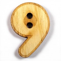 Wooden Number Buttons 2cm to 3cm 9 Pack of 1