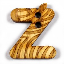 Wooden Alphabet Buttons 2cm to 3cm z  Pack of 1