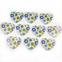 Wooden Heart Buttons 25mm Blue and Green Pack of 10