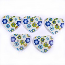 Wooden Heart Buttons 25mm Blue and Green Pack of 5