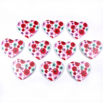 Wooden Heart Buttons 25mm Red and Pink Pack of 10