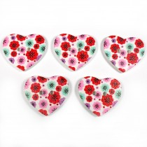 Wooden Heart Buttons 25mm Red and Pink Pack of 5