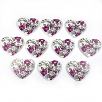 Wooden Heart Buttons 25mm Purple Pack of 10