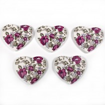 Wooden Heart Buttons 25mm Purple Pack of 5