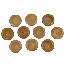 Wooden Round 2 Hole Buttons 22mm Plain Pack of 10