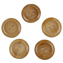 Wooden Round 2 Hole Buttons 22mm Plain Pack of 5