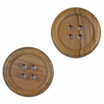 Large Round Wooden 4 Hole Feature Buttons 38mm Pack of 2