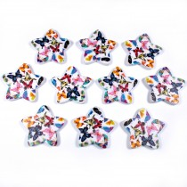 Wooden Star Buttons 25mm Butterfly Pack of 10