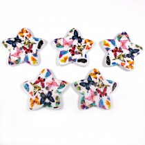 Wooden Star Buttons 25mm Butterfly Pack of 5
