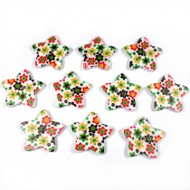 Wooden Star Buttons 25mm Flowers Pack of 10