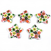 Wooden Star Buttons 25mm Flowers Pack of 5
