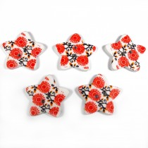 Wooden Star Buttons 25mm Orange Pack of 5
