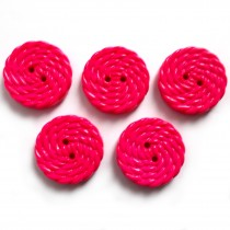 Woven Rope Effect Spiral Swirl Plastic Buttons 15mm Pink Pack of 5