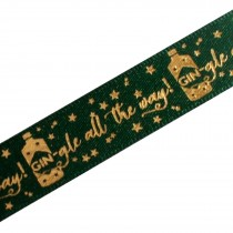 Xmas Drinks Ribbon 15mm wide Gin-gle Green 3 metre length