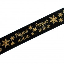 Xmas Drinks Ribbon 15mm wide Prosecco Black 2 metre length