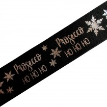 Xmas Drinks Ribbon 25mm wide Prosecco Black 3 metre length