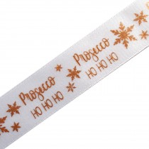 Xmas Drinks Ribbon 15mm wide Prosecco White 3 metre length
