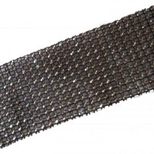 12 Row Diamante Trim 6cm Wide Black 1 metre length