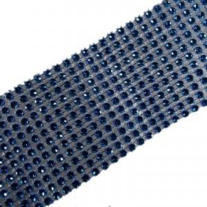 12 Row Diamante Trim 6cm Wide Blue 1 metre length