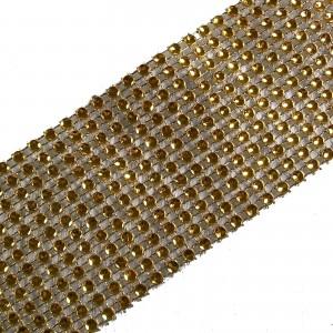 12 Row Diamante Trim 6cm Wide Gold 1 metre length