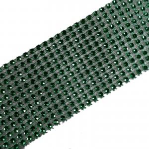 12 Row Diamante Trim 6cm Wide Green 1 metre length