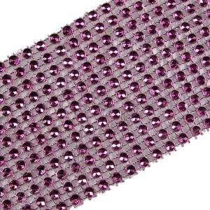 12 Row Diamante Trim 6cm Wide Pink 1 metre length