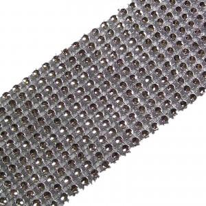 12 Row Diamante Trim 6cm Wide Silver 1 metre length