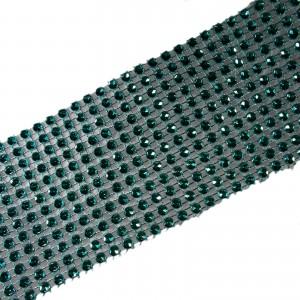 12 Row Diamante Trim 6cm Wide Turquoise 1 metre length