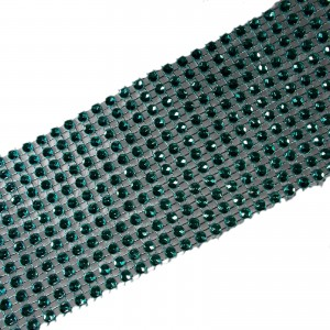 12 Row Diamante Trim 6cm Wide Turquoise 2 metre length