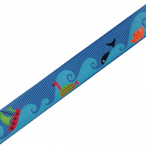 Adventure Childrens Ribbon 16mm Wide Blue Boats and Fish 2 metre length