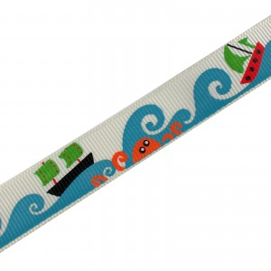 Adventure Childrens Ribbon 16mm Wide White Boats and Fish 1 metre length