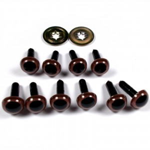 Animal Eyes for Teddy Bear Soft Toy Doll making 12mm wide Brown Pack of 10