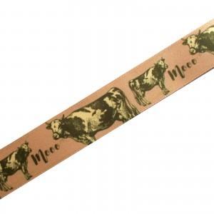 Berisfords Animal Satin Ribbon 25mm wide Cow 2 metre length