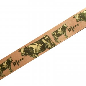Berisfords Animal Satin Ribbon 25mm wide Cow 3 metre length