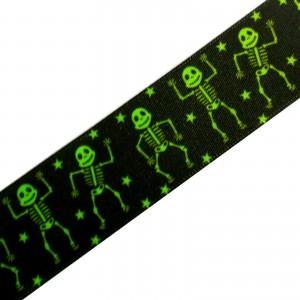 Berisfords Trick or Treat Halloween Neon Green Satin 25mm Ribbon Cut Lengths