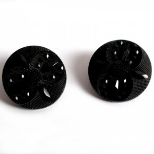 Ornate Round Coat Buttons Faceted Design 27mm Black Pack of 2